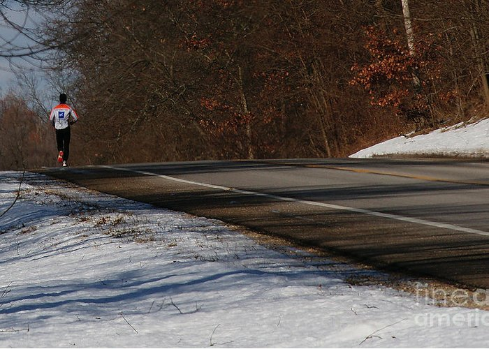 Winter Greeting Card featuring the photograph Winter Run by Linda Shafer