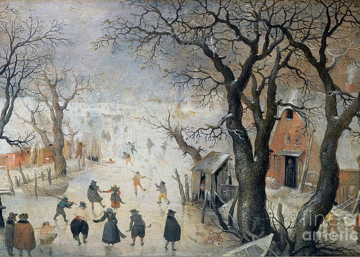 Winter Greeting Card featuring the painting Winter Scene by Hendrik Avercamp