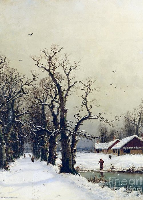 Winter Greeting Card featuring the painting Winter Scene by Nils Hans Christiansen