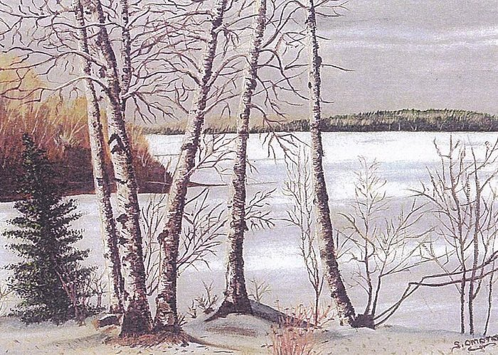 Landscape Greeting Card featuring the painting Winter Scene by Sachiko Omoto