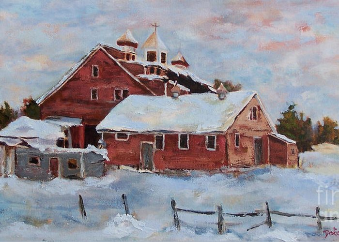 Nh Greeting Card featuring the painting Winter Silence by Alicia Drakiotes