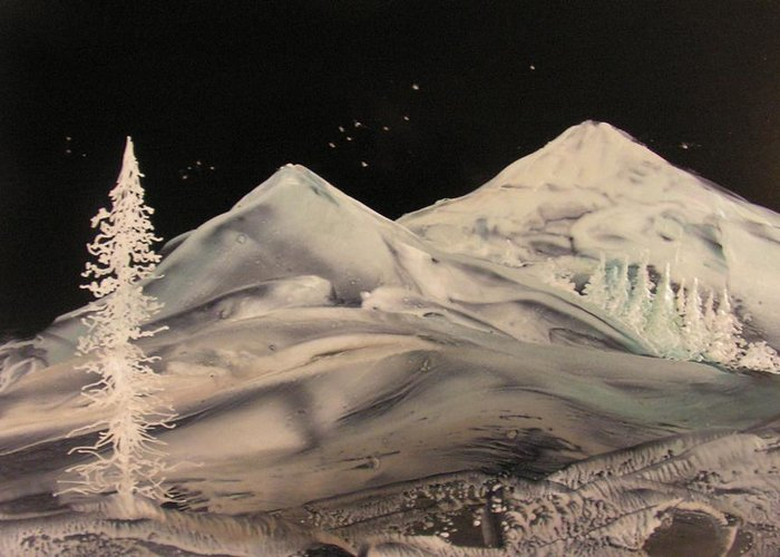 Landscape Greeting Card featuring the painting Winter Slumber by John Vandebrooke