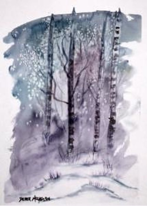 Watercolor Landscape Painting Greeting Card featuring the painting Winter Snow Landscape Painting Print by Derek Mccrea