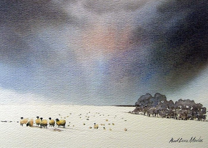 Landscape Greeting Card featuring the painting Winter Snow Swaledale by Paul Dene Marlor