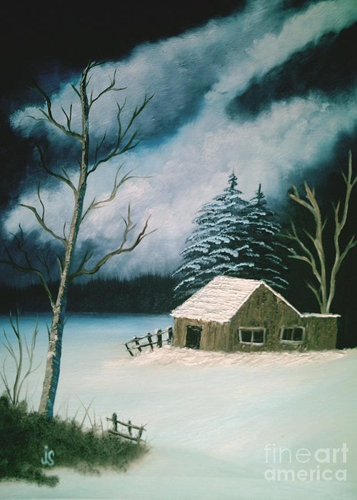 Winter Landscape Greeting Card featuring the painting Winter Solitude by Jim Saltis