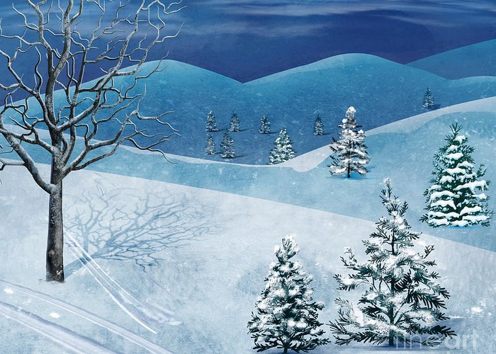 Winter Greeting Card featuring the digital art Winter Solstice by Bedros Awak