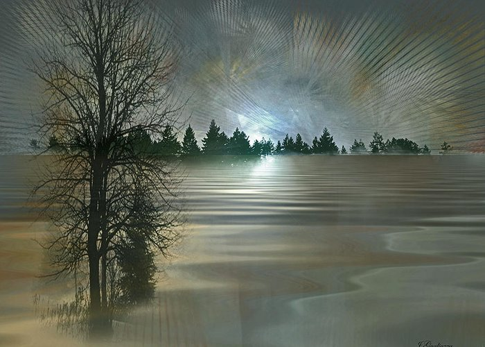Winter Greeting Card featuring the digital art Winter Solstice by Jean Gugliuzza