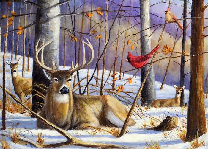 Wildlife Painting Greeting Card featuring the painting Winter Song by Michael Scherer