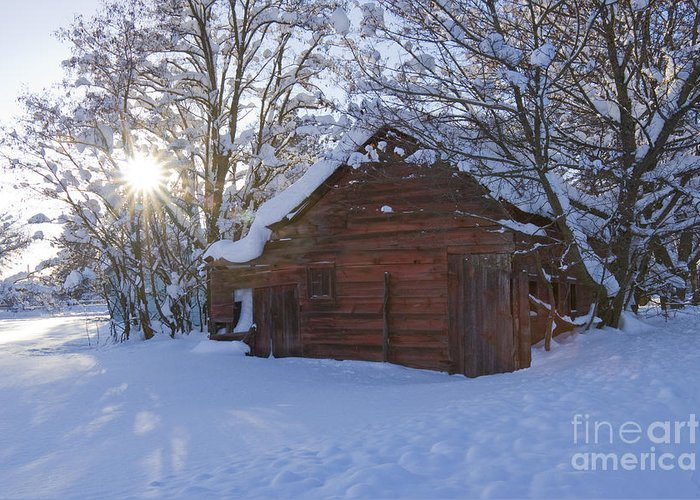 Red Greeting Card featuring the photograph Winter Stable by Idaho Scenic Images Linda Lantzy