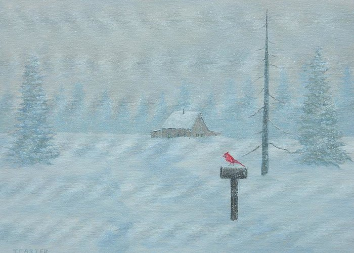 Winter Greeting Card featuring the painting Winter Storm Carter by John Carter