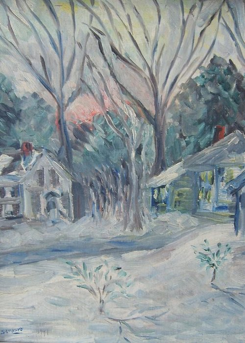Landscape Snow Greeting Card featuring the painting Winter Storm by Joseph Sandora Jr