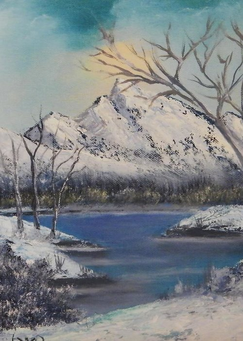 Greeting Card featuring the painting Winter Stream by Larry Doyle