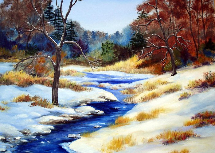 Maine Snow Winter Trees Nature Paintings Original Art Greeting Card featuring the painting Winter Stream by Laura Tasheiko