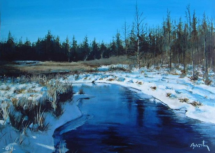 Landscape Realistic Greeting Card featuring the painting Winter Stream by William Brody