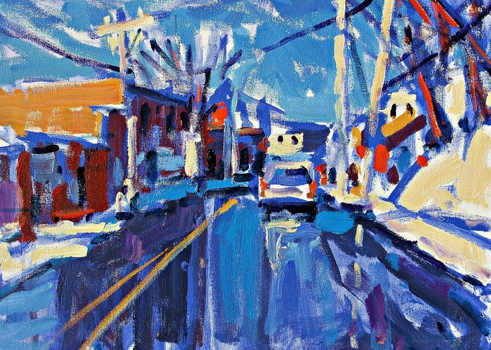 Acrylic Greeting Card featuring the painting Winter Street by Brian Simons