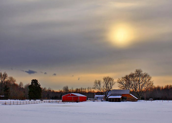 Barn Greeting Card featuring the photograph Winter Sun by Evelina Kremsdorf
