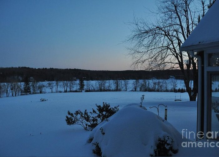 Winter Greeting Card featuring the photograph Winter Sunrise On Demond Pond by John Black