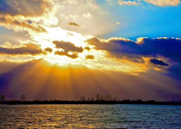 Miami Beach Greeting Card featuring the photograph Winter Sunrise Over Miami Beach by William Wetmore