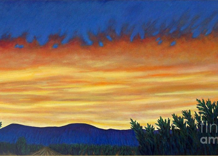 Sunset Greeting Card featuring the painting Winter Sunset In El Dorado by Brian Commerford