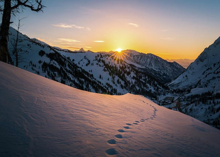 Utah Greeting Card featuring the photograph Winter Sunset Over Little Cottonwood Canyon by James Udall