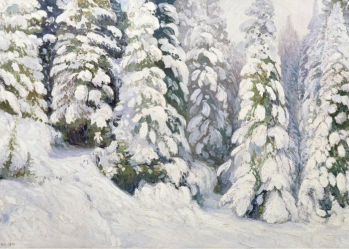 Winter Greeting Card featuring the painting Winter Tale by Aleksandr Alekseevich Borisov