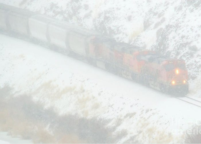 Train Greeting Card featuring the photograph Winter Train by Mike Dawson