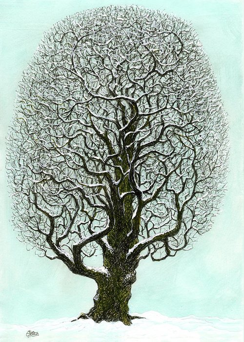 Tree Greeting Card featuring the painting Winter Tree 2009 by Charles Cater