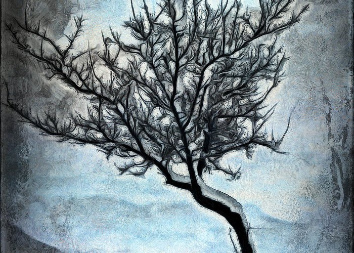 Tree Greeting Card featuring the digital art Winter Tree II by Ronald Bolokofsky
