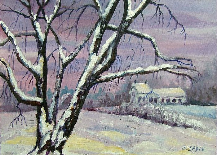 Winter Greeting Card featuring the painting Winter Tree by Saga Sabin