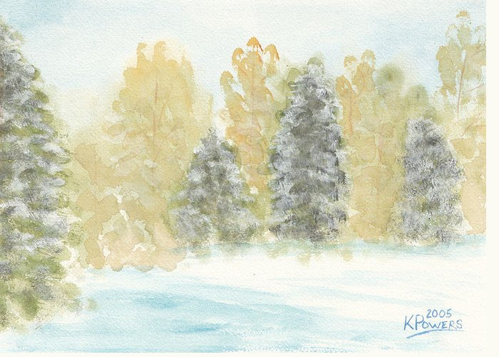 Winter Greeting Card featuring the painting Winter Trees by Ken Powers