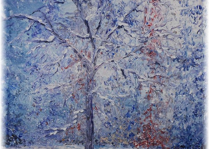 Winter Greeting Card featuring the painting Winter Trees by Nadine Rippelmeyer