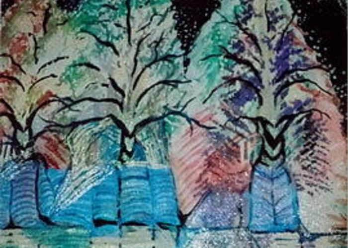 Winter Greeting Card featuring the mixed media Winter Trees With Hidden Horns by Anne-Elizabeth Whiteway