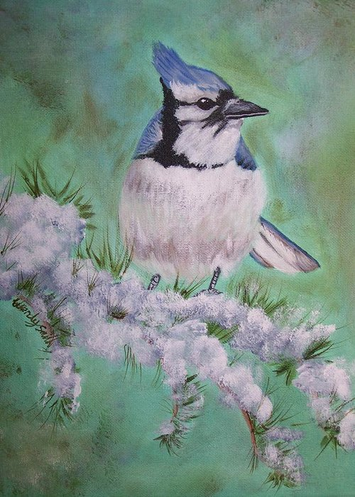 Bird Greeting Card featuring the painting Winter Visitor by Wendy Smith