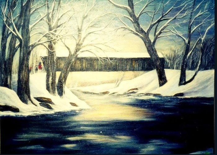Bridge Greeting Card featuring the painting Winter Walk At Bennett's Mill Bridge by Gail Kirtz