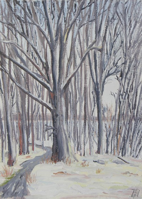 Winter Greeting Card featuring the painting Winter Walk by Robert P Hedden