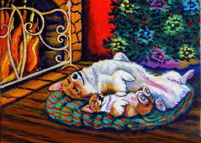 Pembroke Welsh Corgi Greeting Card featuring the painting Winter Warmth - Pembroke Welsh Corgi by Lyn Cook