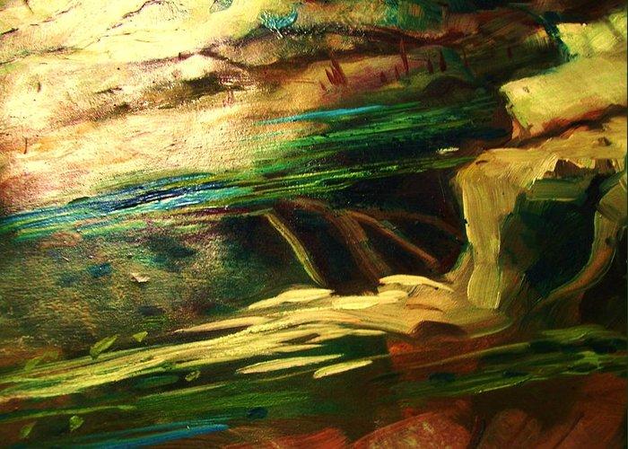 Winter Water Slide Thru Rocks. Greeting Card featuring the painting Winter Water by Nereida Slesarchik Cedeno Wilcoxon