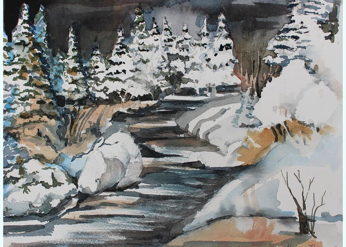 Winter Greeting Card featuring the painting Winter White by Mindy Newman