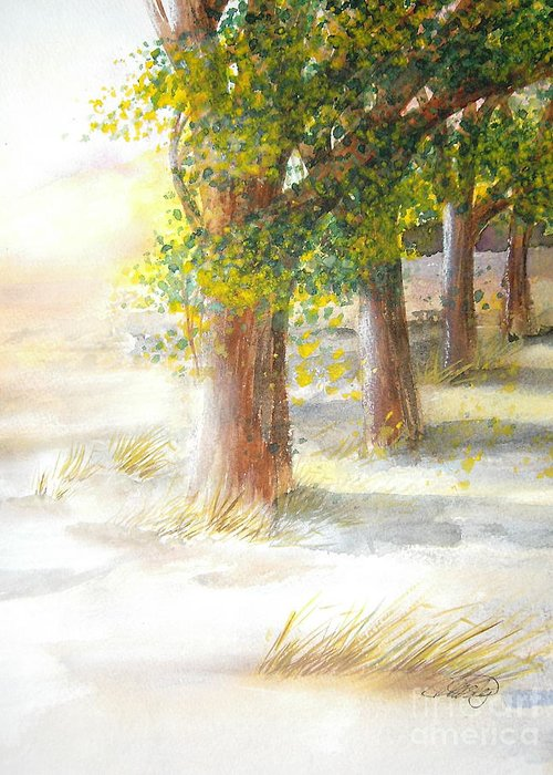Landscape Greeting Card featuring the painting Winter Winds by Vivian Mosley