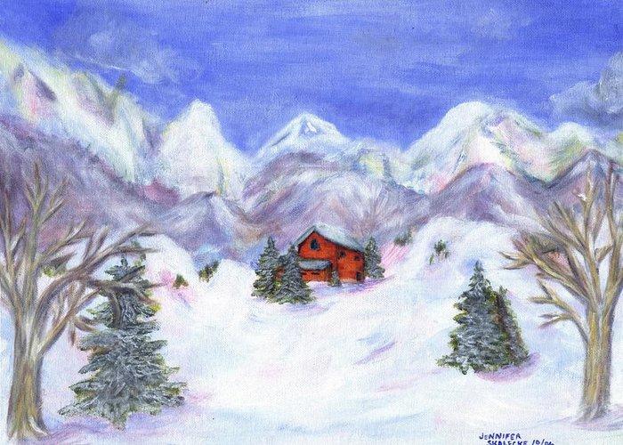 Winter Greeting Card featuring the painting Winter Wonderland - www.jennifer-d-art.com by Jennifer Skalecke