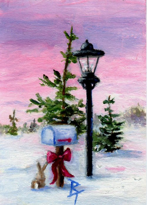 Winter Greeting Card featuring the painting Winter Wonderland Aceo by Brenda Thour