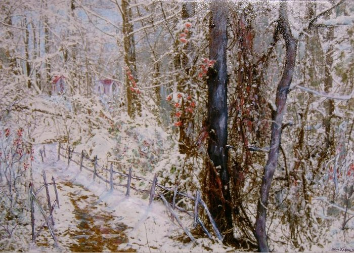 Snow; Trees Greeting Card featuring the painting Winter Wonderland by Ben Kiger