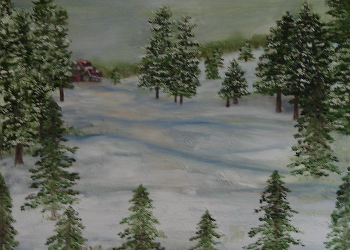 Landscape Greeting Card featuring the painting Winter Wonderland by Shiana Canatella