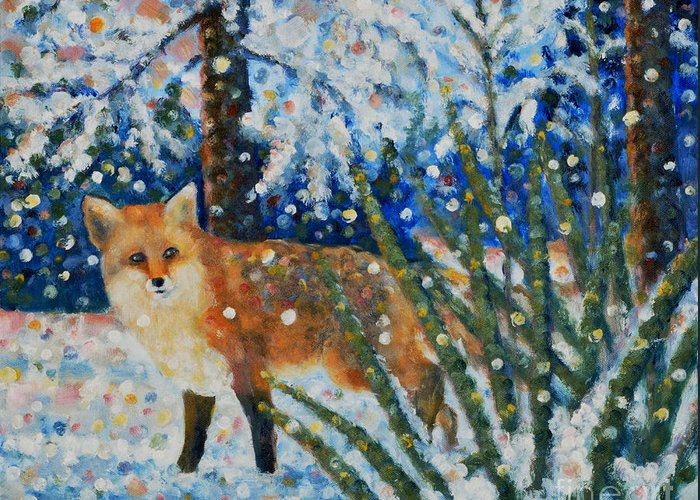 Red Fox Greeting Card featuring the painting Winter Yucca / Red Fox by Jim Rehlin