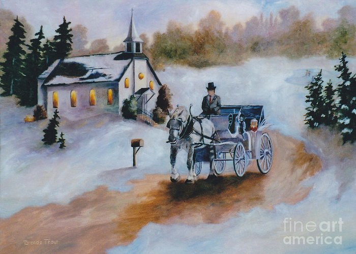 Winter Greeting Card featuring the painting Winters Dream by Brenda Thour
