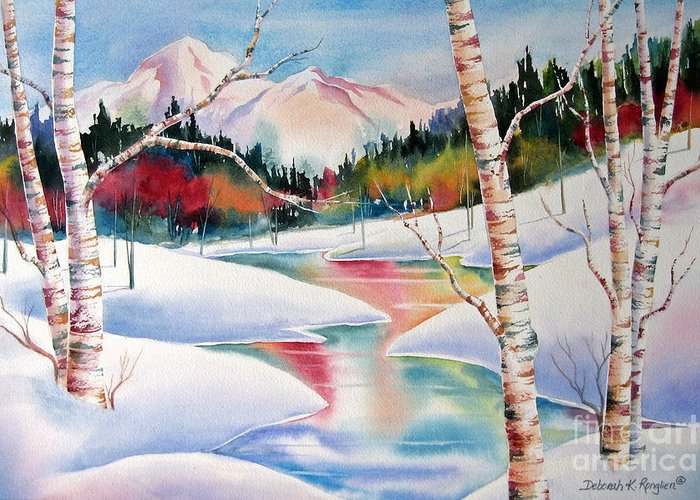 Snow Greeting Card featuring the painting Winter's Light by Deborah Ronglien