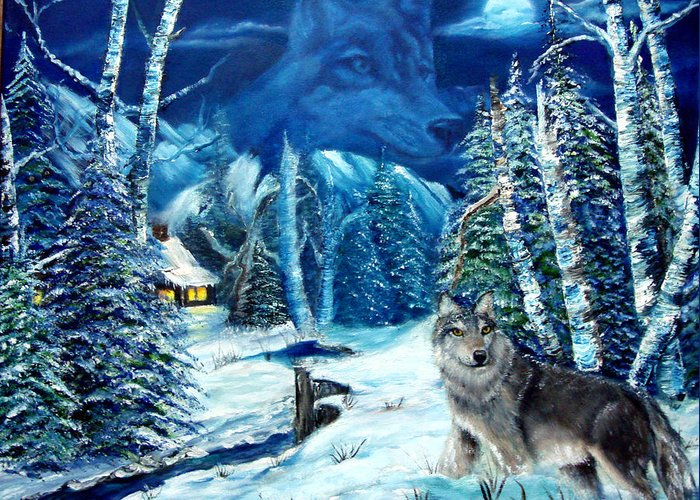 Wolf Greeting Card featuring the painting Winters Night 2 by Darlene Green