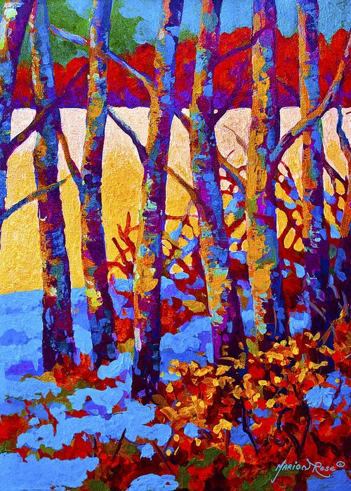 Trees Greeting Card featuring the painting Winter's Promise by Marion Rose