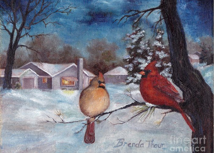 Cardinals Greeting Card featuring the painting Winters Serenity by Brenda Thour