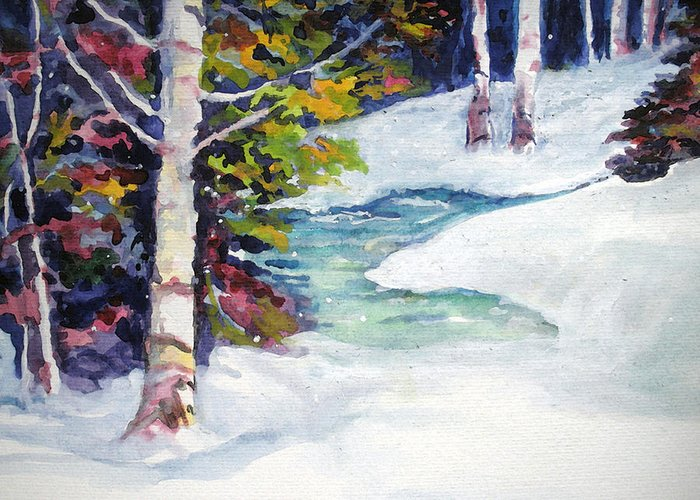 Winter Greeting Card featuring the painting Winter's Solace by Mary Sonya Conti